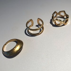 3 Madewell Gold Tone Rings All Size 8